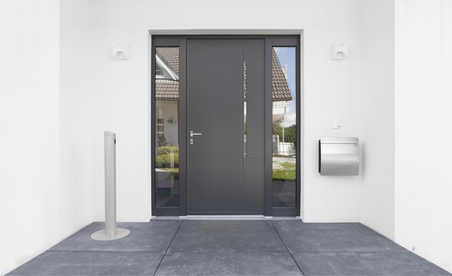 Poign e de porte d 39 entr e en aluminium technal - Poignee de porte d entree design ...