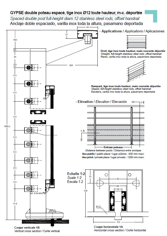 """Spaced double post"" full height diam 12 stainless steel rods, offset handrail"