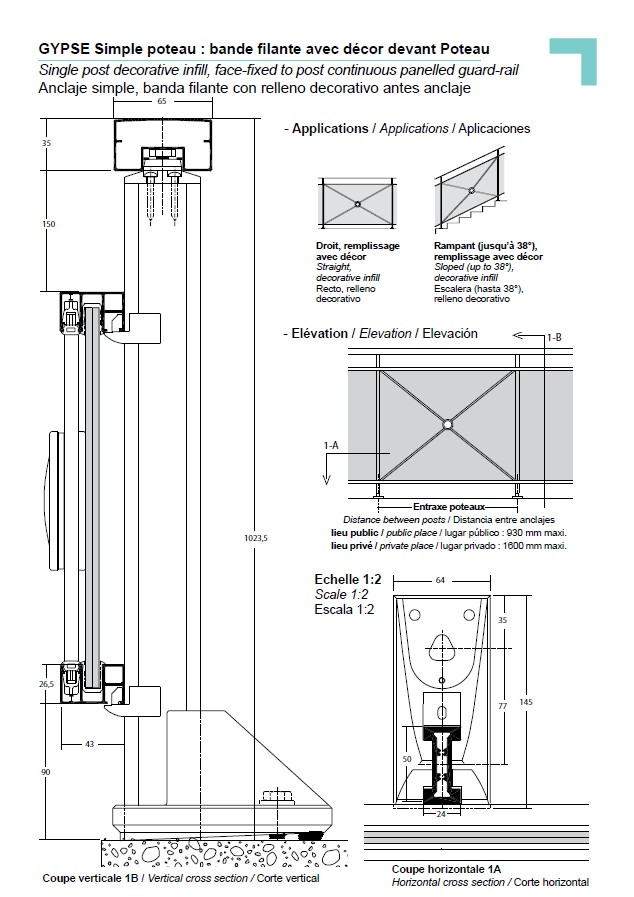 Anclaje simple banda filante con relleno decorativo antes - Detalle carpinteria aluminio ...