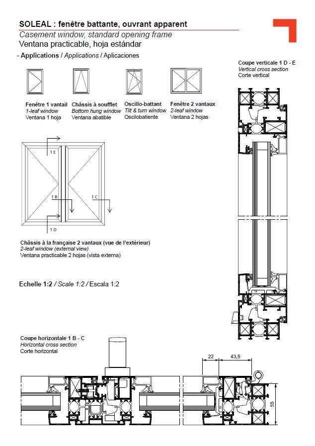 FY casement window, standard opening frame