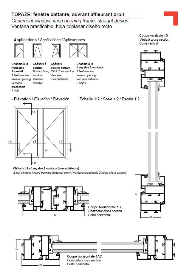 Hinged window, flush opening frame, straight design