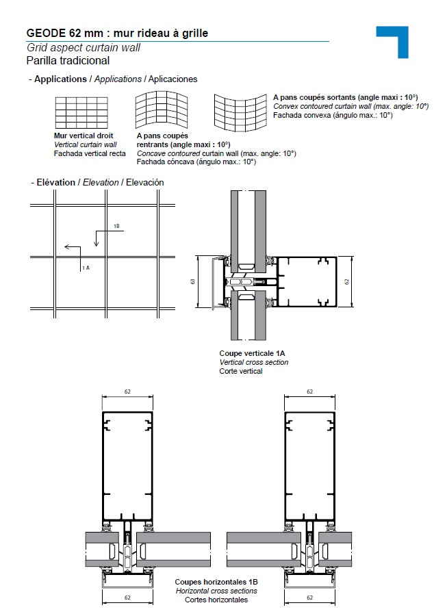 MX 62 mm, grid aspect curtain wall