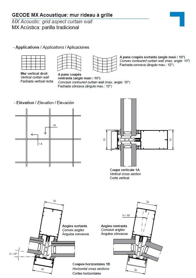 Acoustic, grid aspect curtain wall