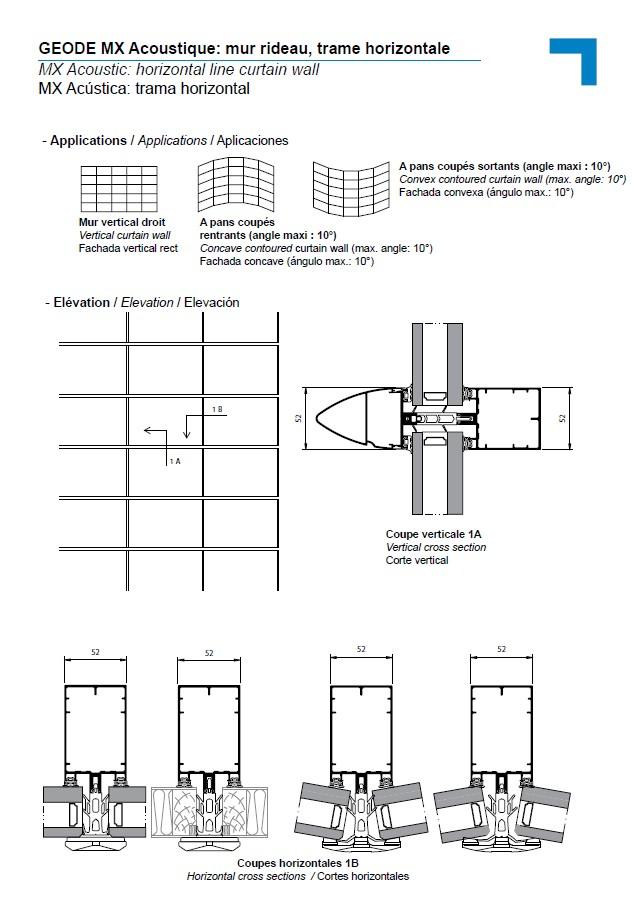 mx acoustique mur rideau trame horizontale. Black Bedroom Furniture Sets. Home Design Ideas