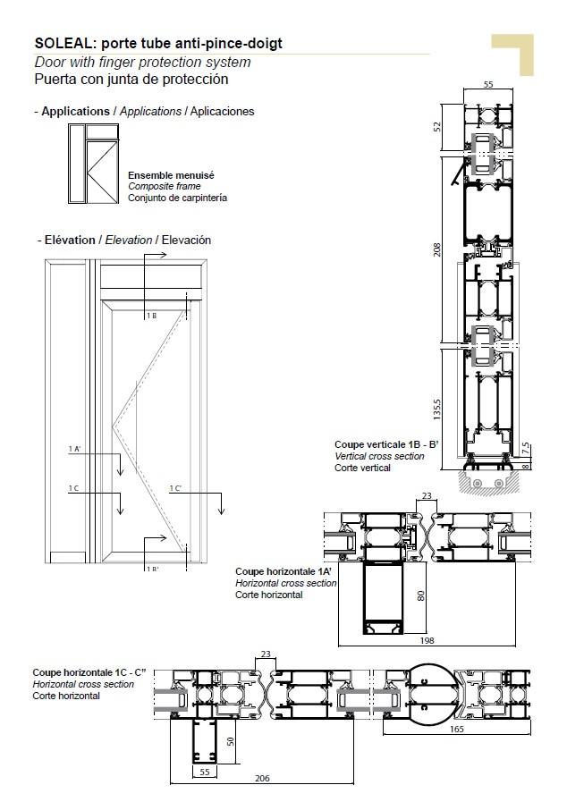PY door with finger protection system, composite frame