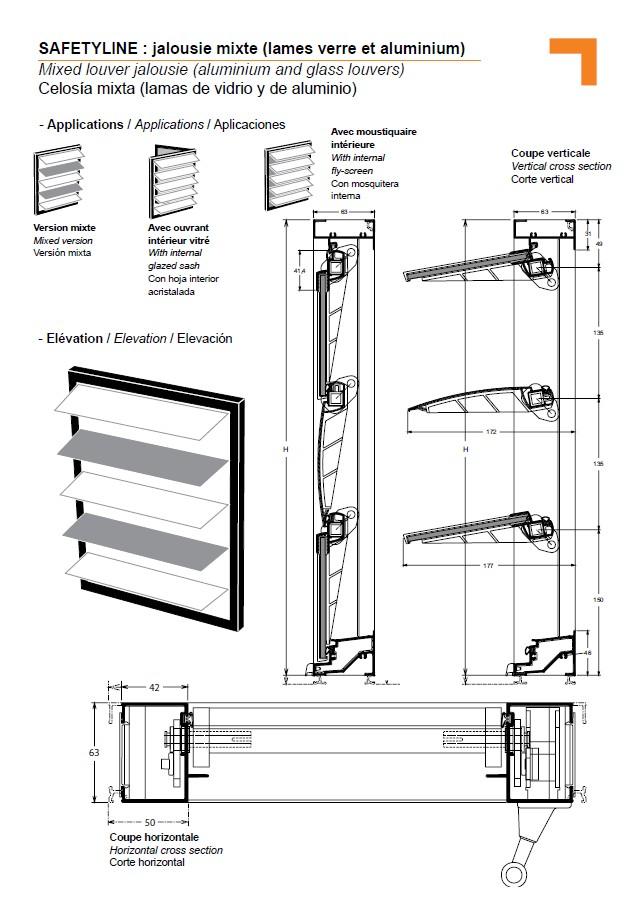 Jx jalousie mixte lames orientables verre et aluminium for Fenetre jalousie