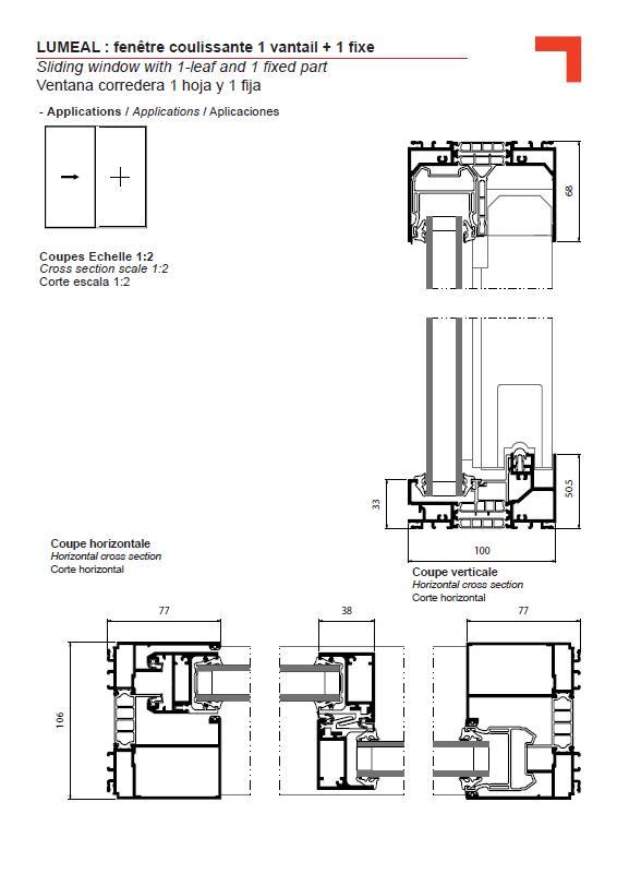 ga fen tre coulissante 1 vantail 1 fixe. Black Bedroom Furniture Sets. Home Design Ideas