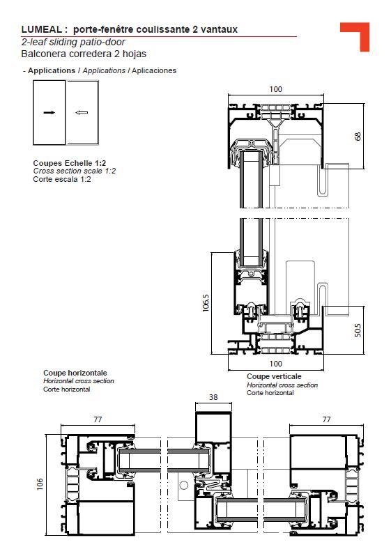 Ga porte fen tre coulissante 2 vantaux for Hauteur porte fenetre standard