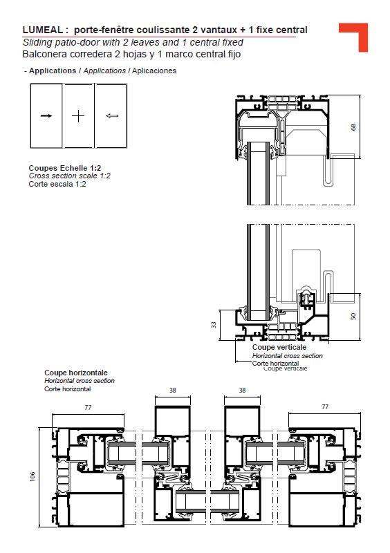 Ga porte fen tre coulissante 2 vantaux 1 fixe central for Porte fenetre coulissante 2 vantaux