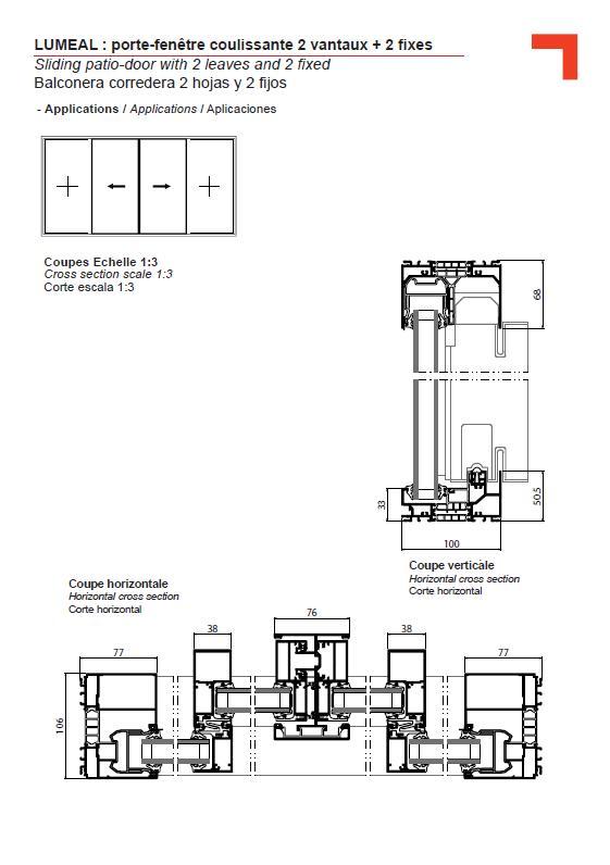 Ga porte fen tre coulissante 2 vantaux 2 fixes for Portes fenetres coulissantes