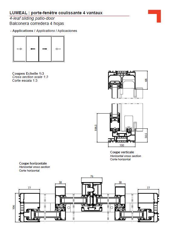 Ga 4 leaf sliding patio door for Fenetre 4 vantaux