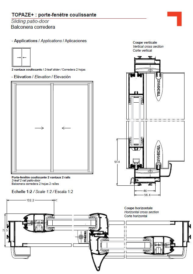 Gb porte fen tre coulissante for Fenetre 2 vantaux dimension standard