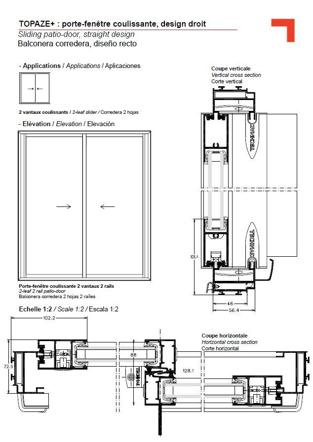 GB Sliding Patio Door Straight Design
