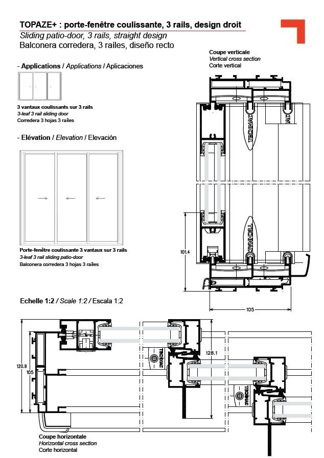 Gb porte fen tre coulissante 3 rails design droit - Porte coulissante angle droit ...
