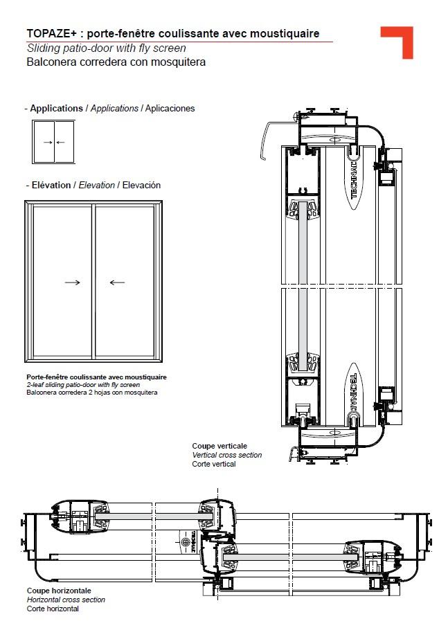 Gb porte fen tre coulissante avec moustiquaire for Fenetre pvc dwg