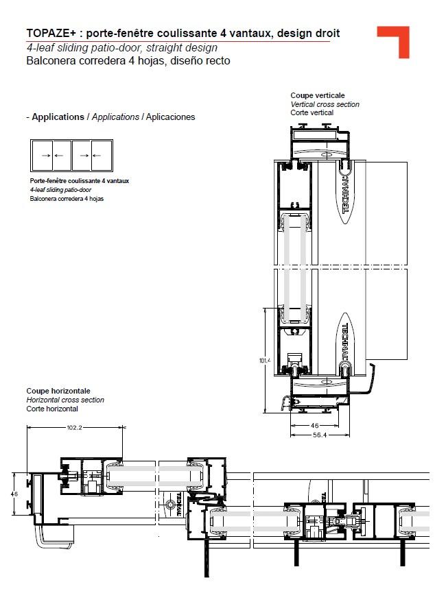 Gb porte fen tre coulissante 4 vantaux design droit for Porte fenetre 4 vantaux