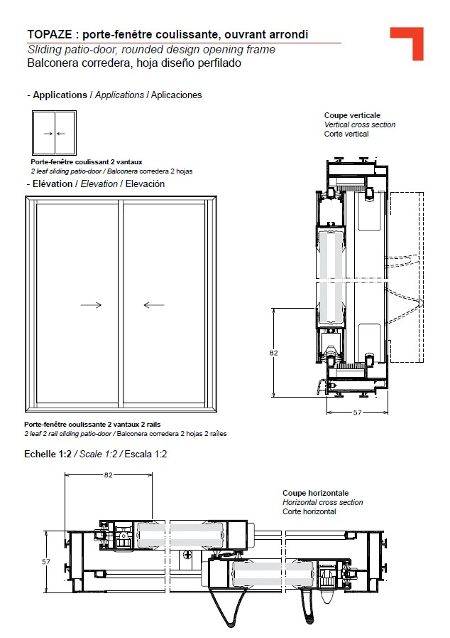 GB sliding patio-door, rounded design opening frame