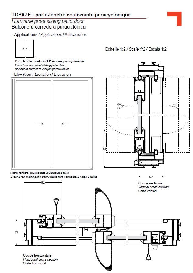 Gb porte fen tre coulissante paracyclonique for Portes fenetres coulissantes
