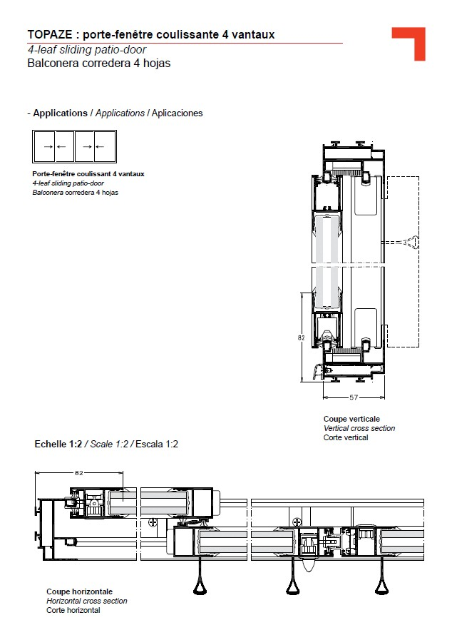 Gb 4 leaf sliding patio door for Porte fenetre 4 vantaux accordeon