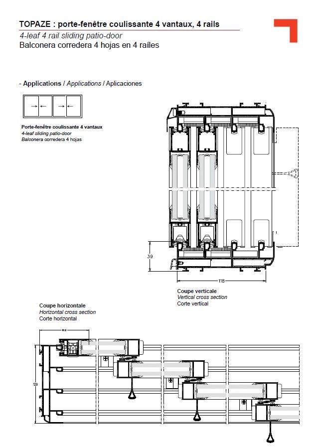 Gb porte fen tre coulissante 4 vantaux 4 rails for Fenetre coulissante 3 vantaux