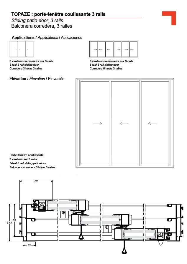 Gb porte fen tre coulissante 3 rails for Porte fenetre alu coulissante