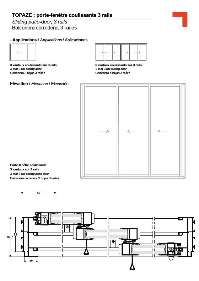 Portefenêtre Coulissante Rails - Porte coulissante 3 vantaux