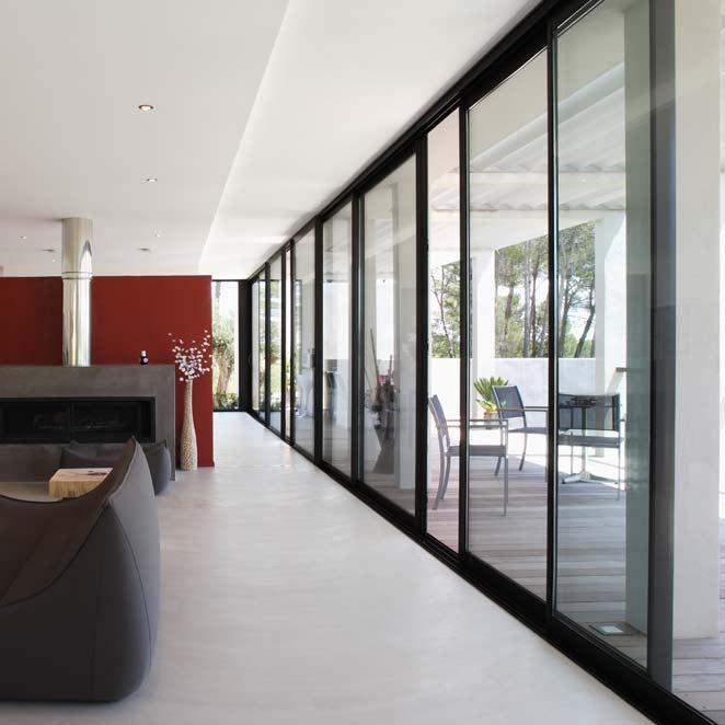 ... droits : Porte-fenêtre coulissante 3 et 6 vantaux sur 3 rails GXi