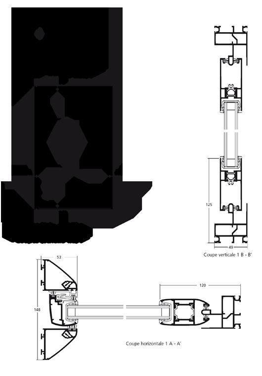 Porte fen tre coulissante en galandage 1 vantail monorail - Porte fenetre coulissante a galandage ...