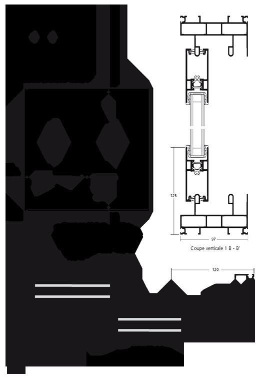 Porte fen tre coulissante en galandage 2 vantaux sur 2 rails for Porte fenetre coulissante galandage