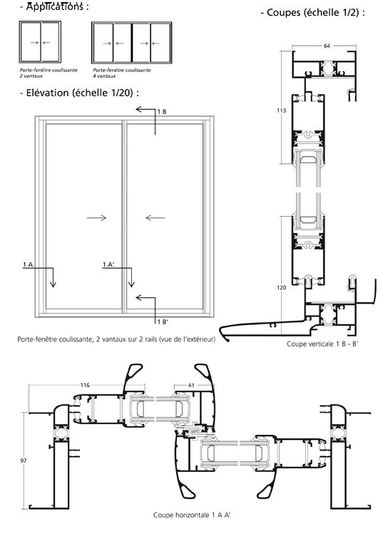 Monobloc porte fenetre 2 et 4 vantaux sur 2 rails gbi for Porte fenetre monobloc