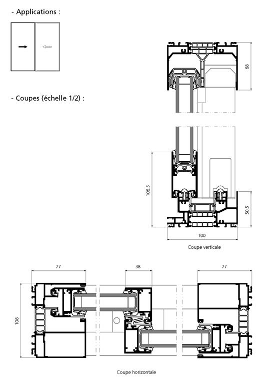 fen tre coulissante 2 vantaux technal. Black Bedroom Furniture Sets. Home Design Ideas
