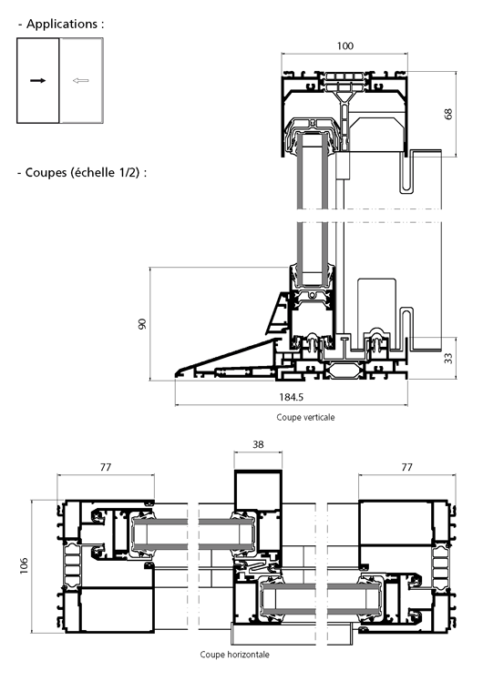 Porte fen tre coulissante 2 vantaux avec seuil pmr technal for Seuil de fenetre