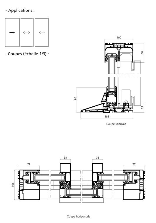 Porte fen tre coulissante 3 vantaux ind pendants avec for Porte fenetre 3 vantaux
