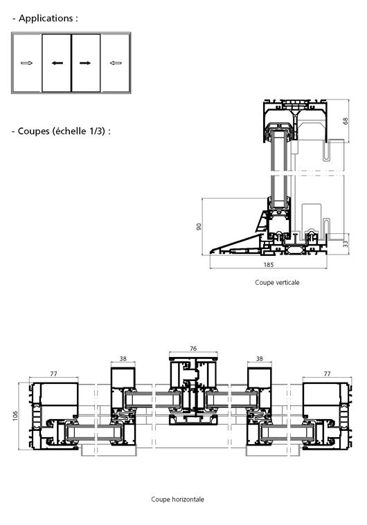 Porte fen tre coulissante 4 vantaux avec seuil pmr for Fenetre coulissante 4 vantaux