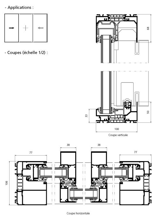 Porte fen tre coulissante 2 vantaux 1 fixe central for Porte fenetre coulissante 2 vantaux