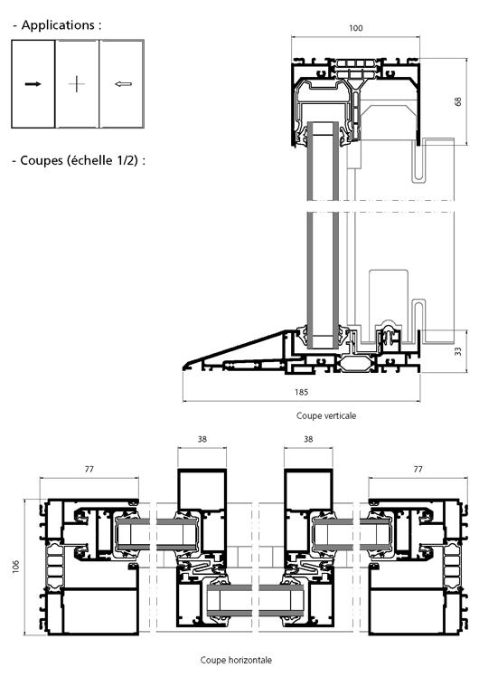 Porte fen tre coulissante 2 vantaux 1 fixe central avec for Fenetre pvc dwg