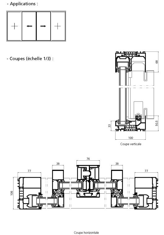 Porte fen tre coulissante 2 vantaux 2 fixes for Dimension porte fenetre 2 vantaux