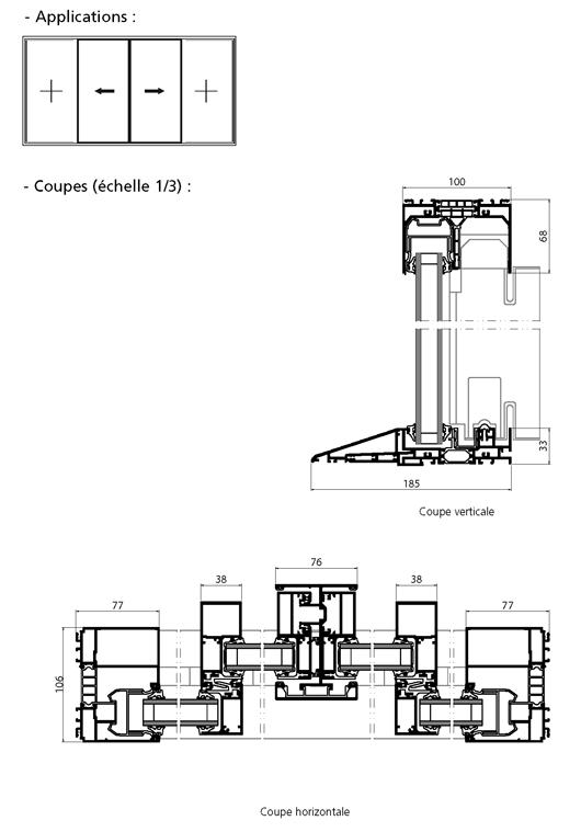 Porte fen tre coulissante 2 vantaux 2 fixes avec seuil pmr for Bloc autocad fenetre