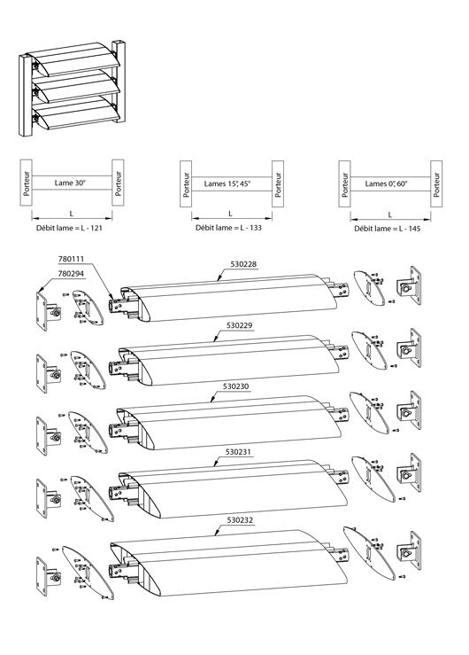 brise soleil lames compos es de 350 mm 600 mm. Black Bedroom Furniture Sets. Home Design Ideas