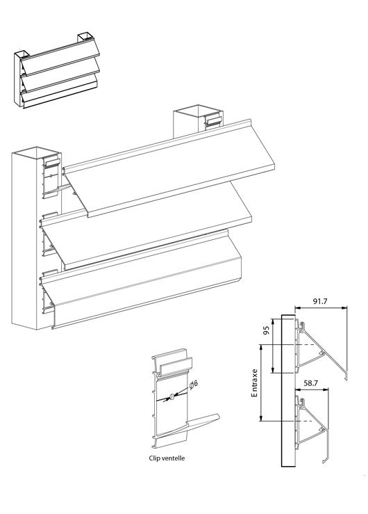 brise soleil ventelles de 100 et 115 mm. Black Bedroom Furniture Sets. Home Design Ideas