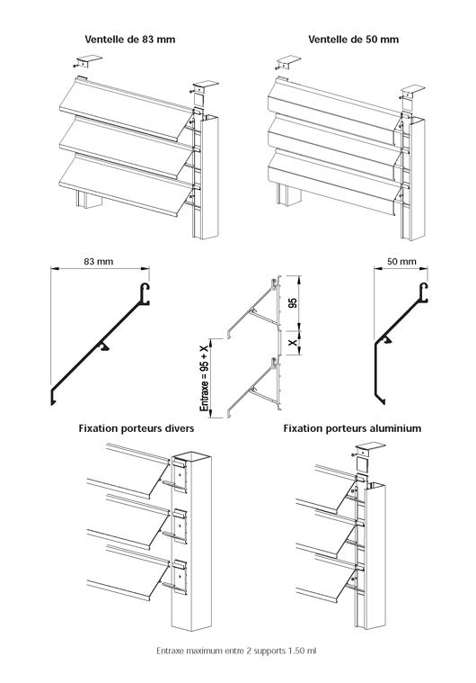brise soleil ventelles de 50 et 83 mm. Black Bedroom Furniture Sets. Home Design Ideas