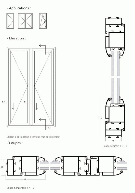 Porte fen tre battante ouvrant affleurant avec serrure fb for Porte fenetre avec serrure exterieure