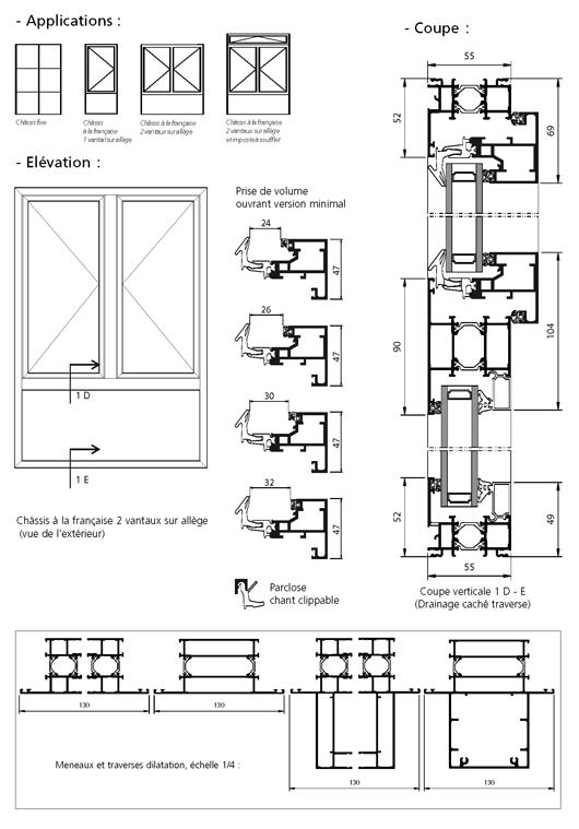 fen tre aluminium plan. Black Bedroom Furniture Sets. Home Design Ideas