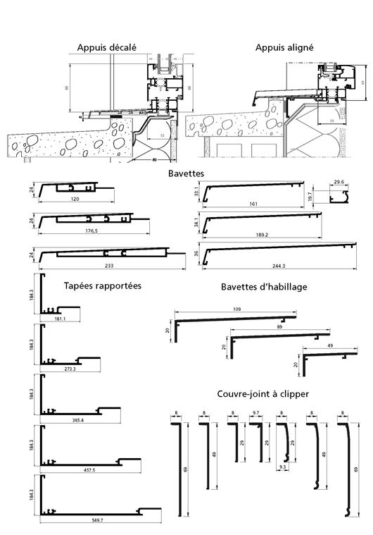 Neuf tap es rapport es monobloc appuis align et d cal for Dimension chassis fenetre