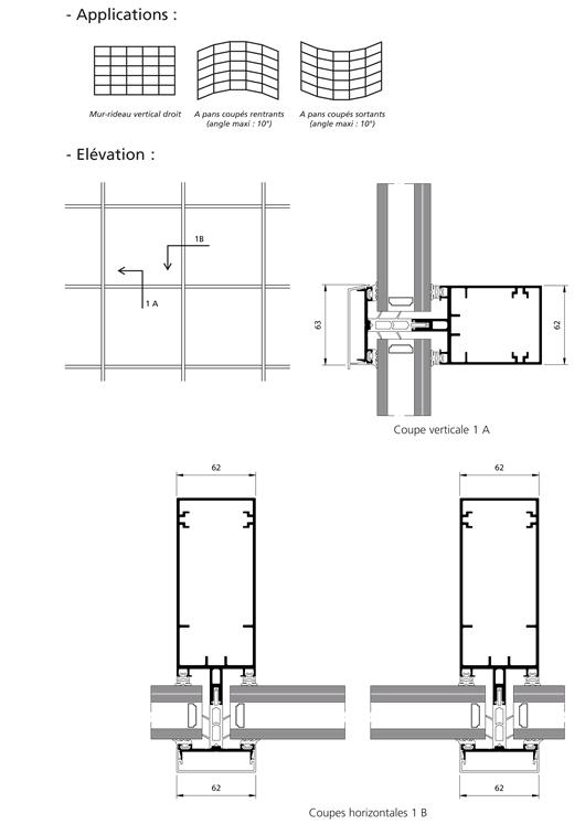 mur rideau grille serreur filant module 62 mm. Black Bedroom Furniture Sets. Home Design Ideas
