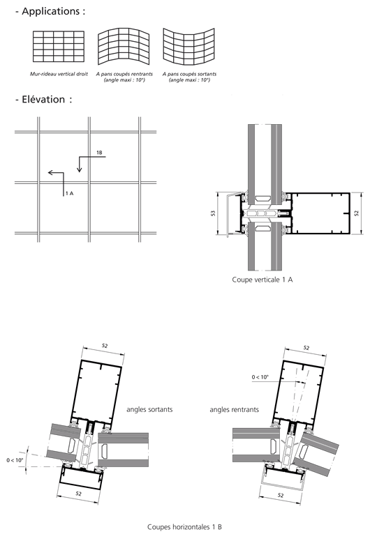 mur rideau grille serreur filant technal. Black Bedroom Furniture Sets. Home Design Ideas