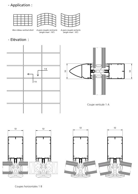mur rideau trame horizontale fixe serreur filant. Black Bedroom Furniture Sets. Home Design Ideas