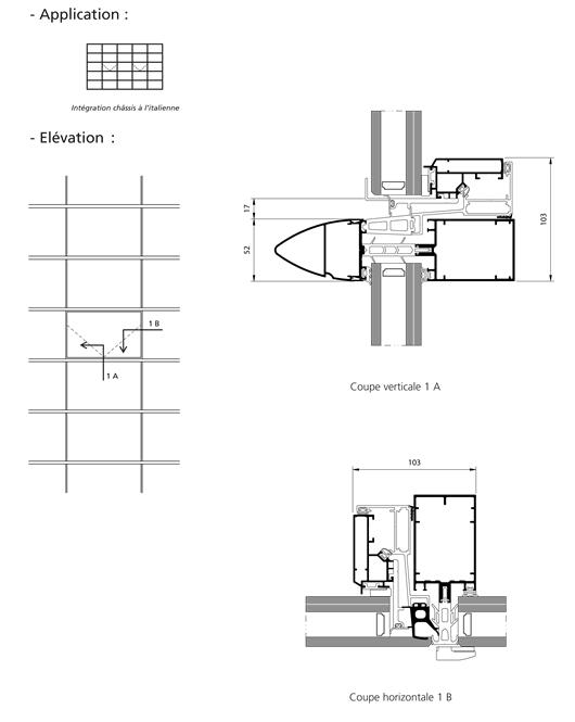 mur rideau trame horizontale ouvrant l italienne. Black Bedroom Furniture Sets. Home Design Ideas