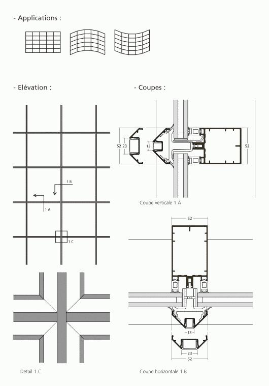 mur rideau grille aspect verre parclos. Black Bedroom Furniture Sets. Home Design Ideas