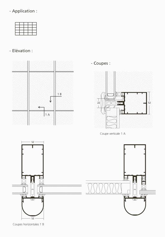 mur rideau trame verticale fixe. Black Bedroom Furniture Sets. Home Design Ideas